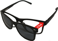 Mat zwart ClipOn duo-leesbril - UV400 zonnelens (+3)-