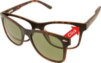 Mat tortoise ClipOn duo-leesbril - UV400 zonnelens (+3)-